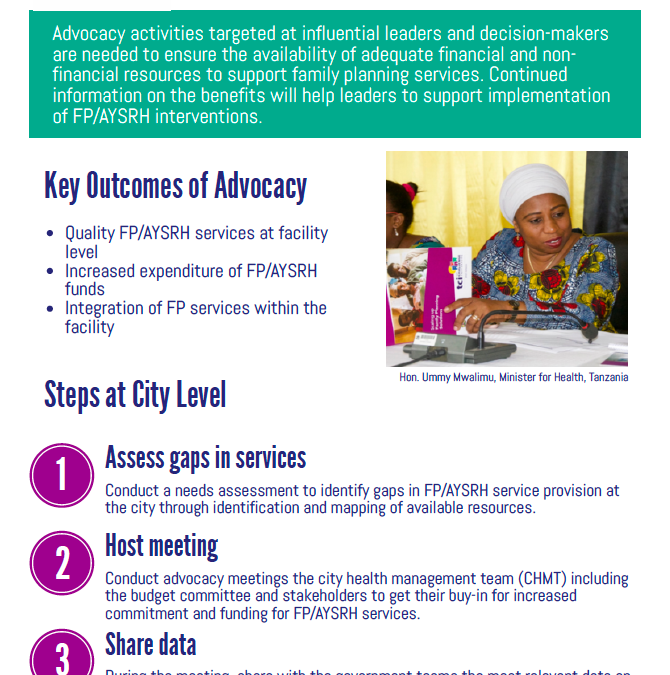 Advocacy for Increased Support & Resources for Family Planning & AYSRH